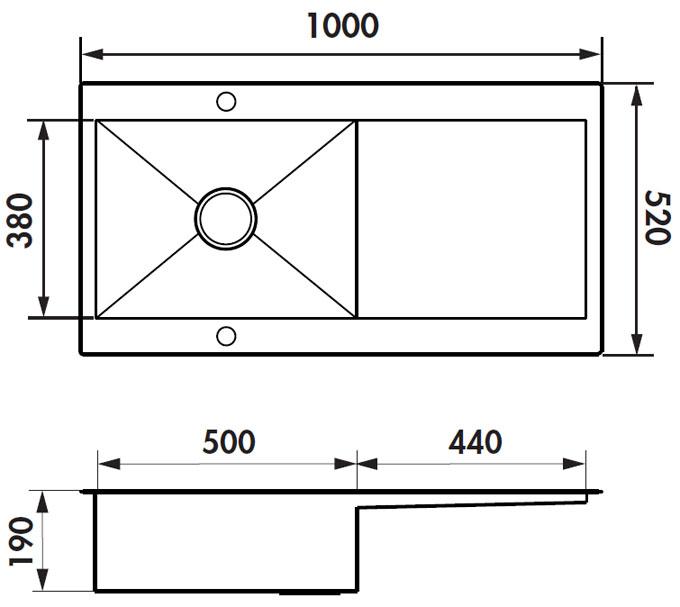 Środki mające zlewozmywak ze stali nierdzewnej Adagio Plus Luisinox EV56011E